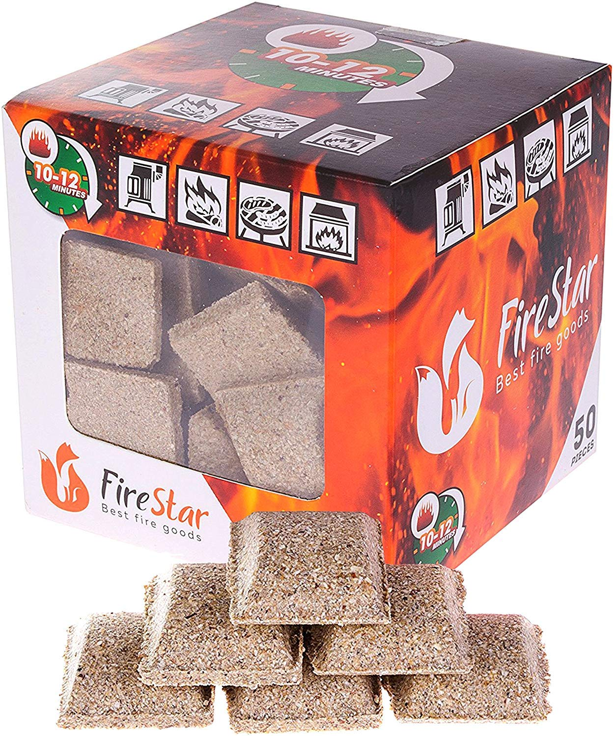 FireStar Squares Fire 50 pc in Pack-Grill Charcoal Starter Cubes Campfires and Camping Burns 12 min-Waterproof firestarters for Fireplace 0001
