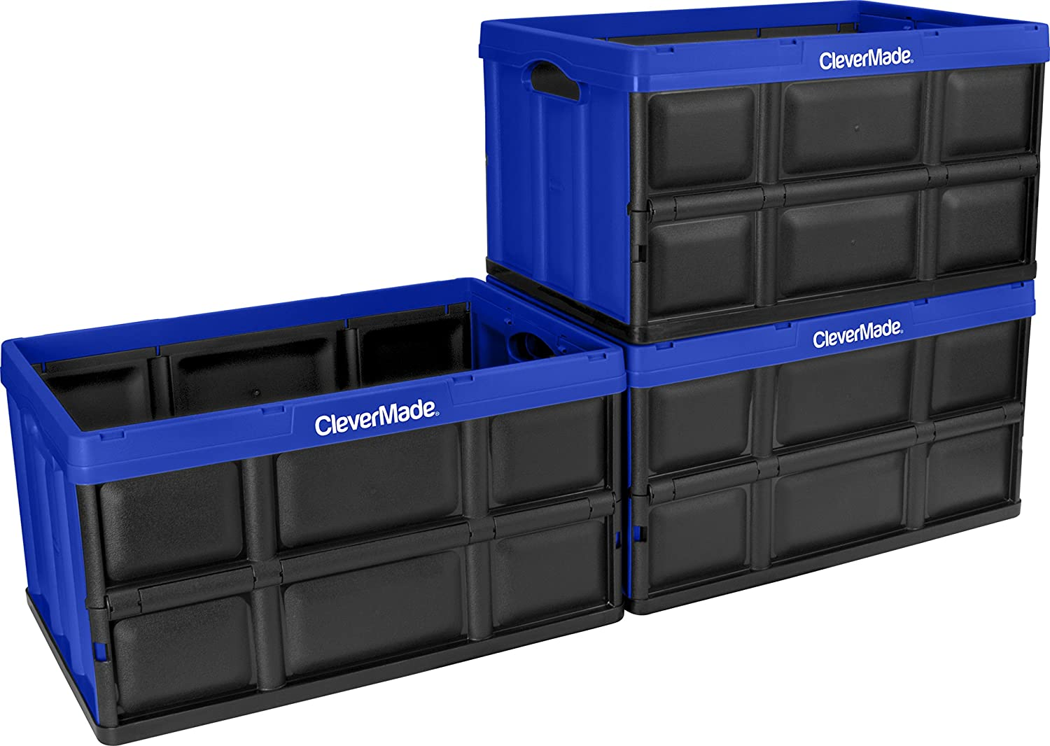 CleverMade 62L Collapsible Storage Bins - Durable Folding Plastic Stackable Utility Crates, Solid Wall CleverCrates, 3 Pack, Royal Blue