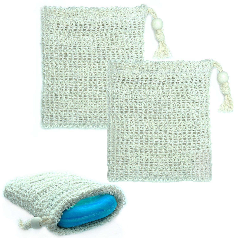 Sisal Seifensäckchen [2er Pack] ideal für Seifenreste & Seifen - Seifenbeutel aus Naturfasern zum aufschäumen und trocknen der Seife - Bio Seifensack mit Kordel GreenBeauty
