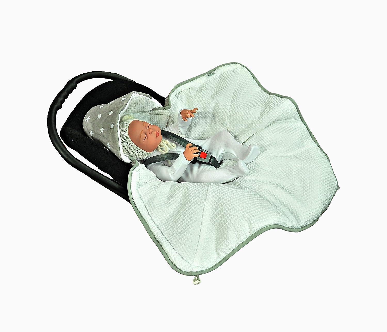 MOMIKA NEW Einschlagdecke, Universal für Babyschale, Autositz, für Kinderwagen, Buggy oder Babybett, aus Waffelpique (Blue) für Kinderwagen