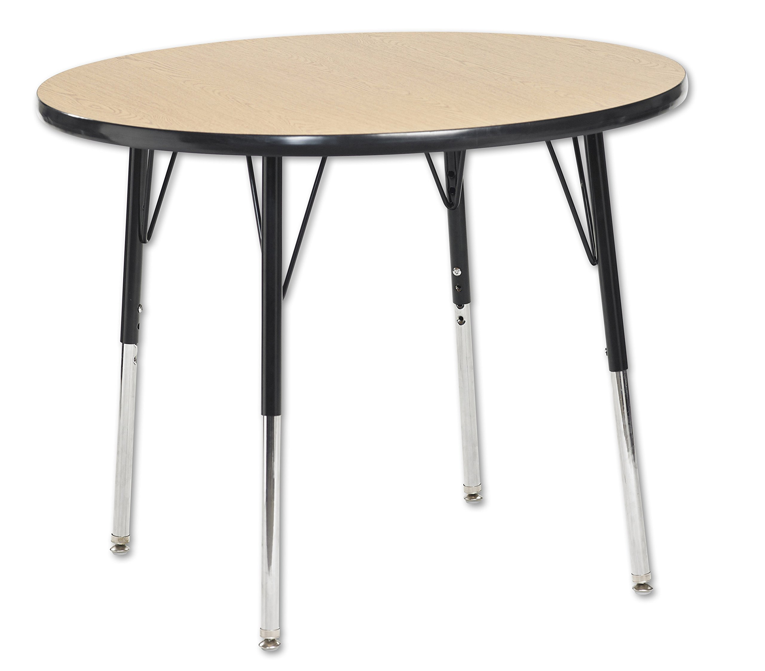 ECR4Kids T-Mold 36'' Round Activity School Table, Toddler Legs w/ Swivel Glides, Adjustable Height 15-23 inch (Oak/Black)