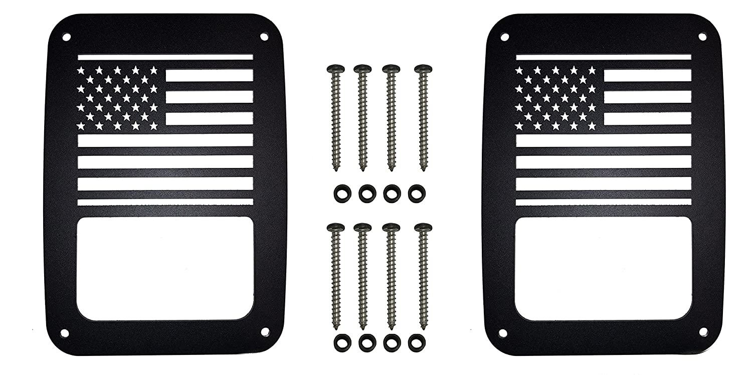 Never Rust VroomTec Jeep Wrangler Aluminum Tail Light Guards Accessories Include Stubby Antenna and All Hardware for JK and JKU JK American Flag Pair Stubby - Precision Made Covers 2007-2018