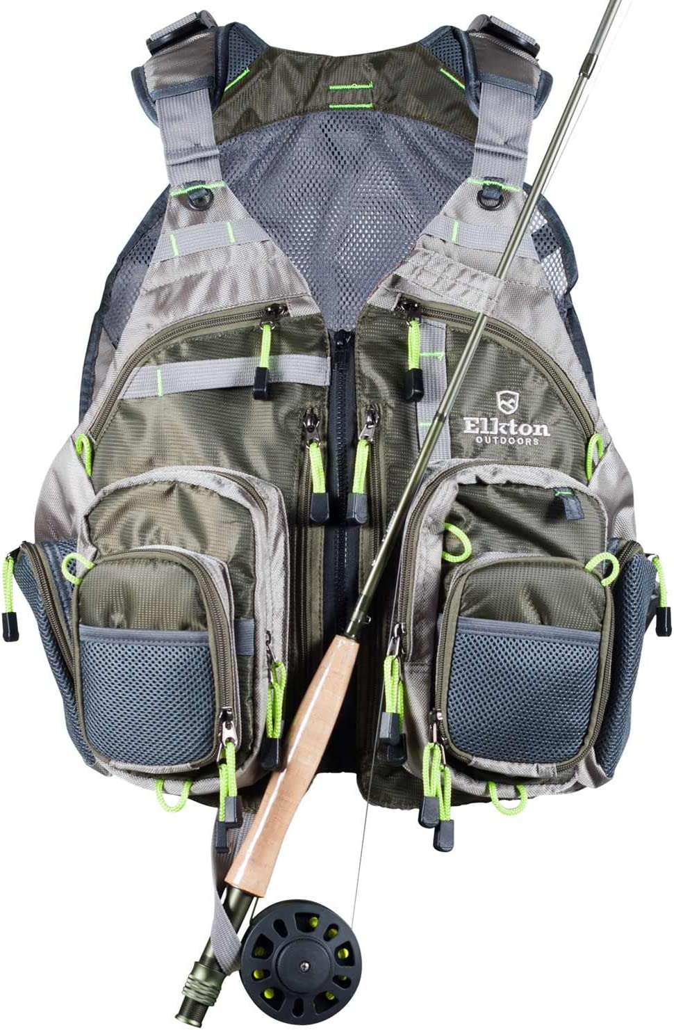 Kylebooker Mesh Fly Fishing Vest Multifunction Breathable Backpack Adjustable Si