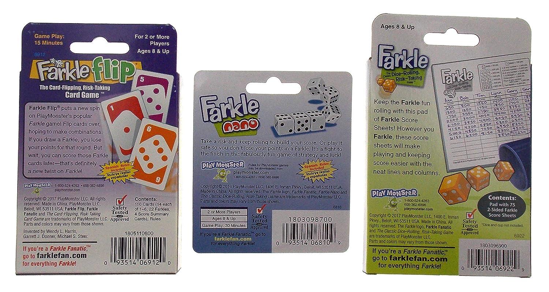 Deluxe Farkle Game Gift Bundle Farkle Game Farkle Flip Card Game /& Farkle Nano Keychain Game Extra Score Sheets
