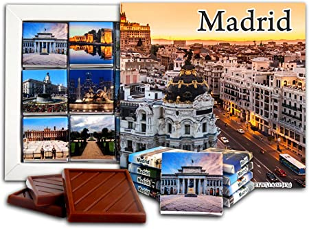 DA CHOCOLATE Caramelo Recuerdo MADRID Capital de España Set de Regalo de Chocolate 13x13cm 1 caja (Puesta de sol): Amazon.es: Hogar