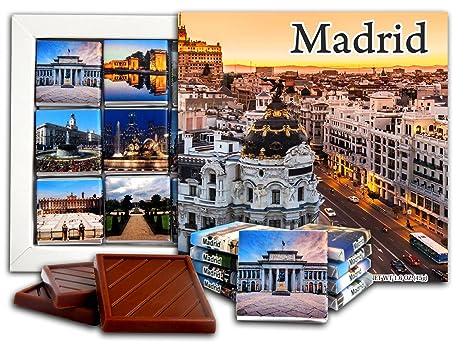 DA CHOCOLATE Caramelo Recuerdo MADRID Capital de España Set de Regalo de Chocolate 13x13cm 1 caja