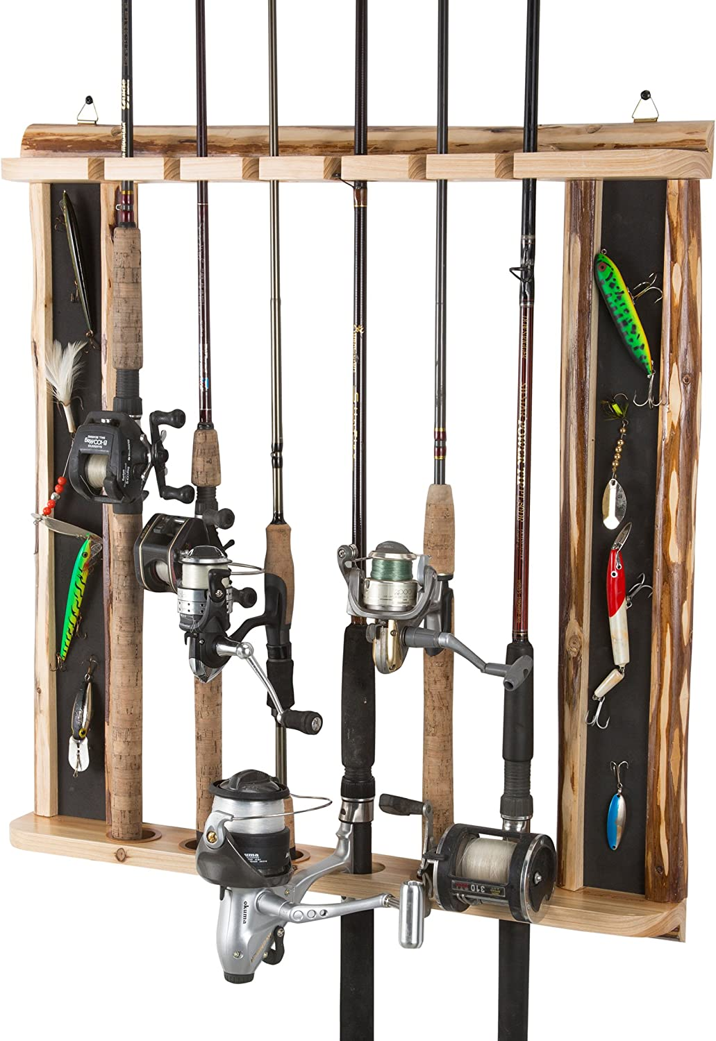 MyGift 6-Rod Torched Wood Vertical Fishing Pole Wall Storage Rack