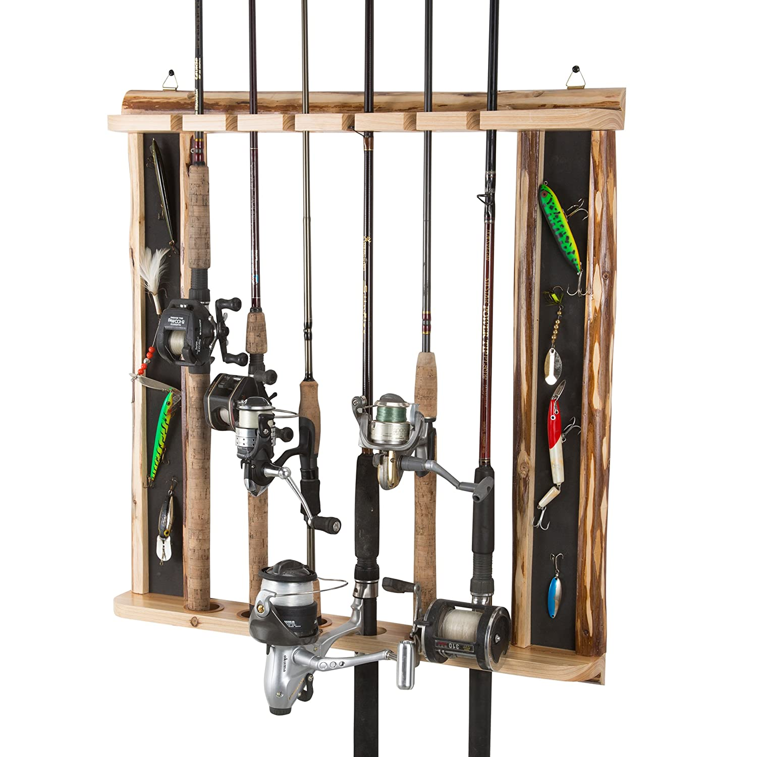 Rush Creek Creations Rustic 6 Fishing Rod Wall Storage Rack – 3 Minute Assembly – Versatile Configurations