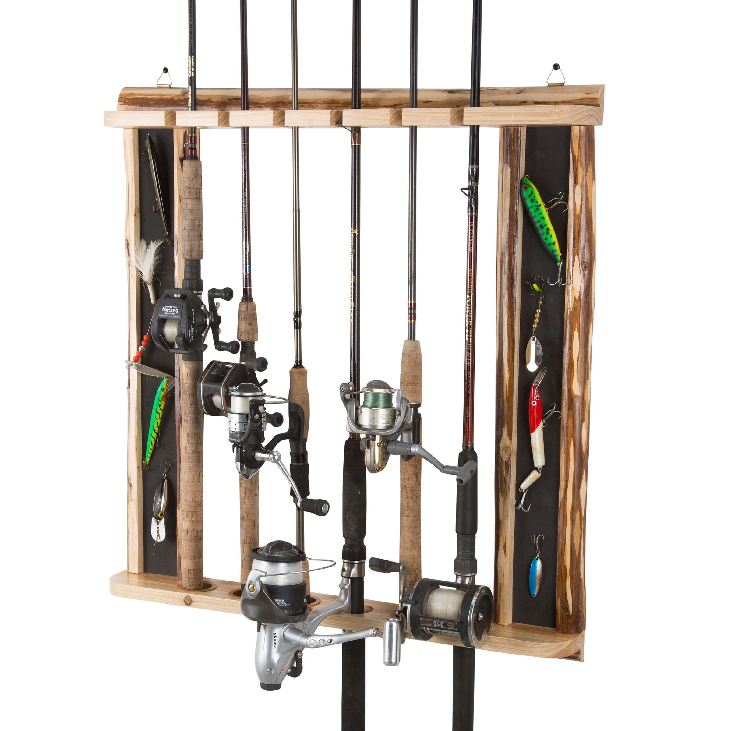 Rush Creek Creations Rustic 6 Fishing Rod Wall Storage Rack - 3 Minute Assembly