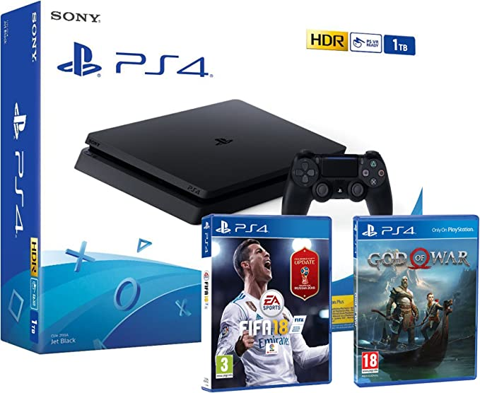 PS4 Slim 1Tb Negra Playstation 4 Consola Pack: FIFA 18 (Incl ...