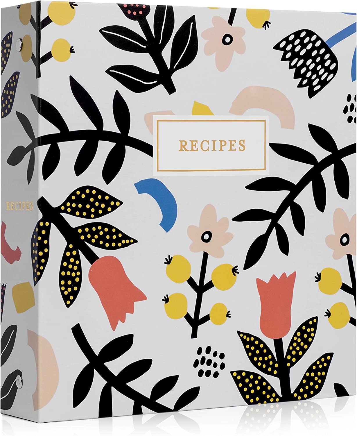 Jot & Mark Recipe Organizer 3 Ring Binder Set (Scandinavian Floral) | 50 Recipe Cards 4x6, Rainbow Full Page Dividers and Plastic Page Protectors