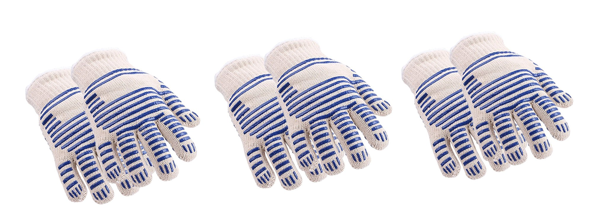 Msmsse 932°F Extreme Heat Resistant Kitchen BBQ Gloves Oven Mitts With Fingers For Cooking Grilling or Baking Heat Resistance (3 Pairs)