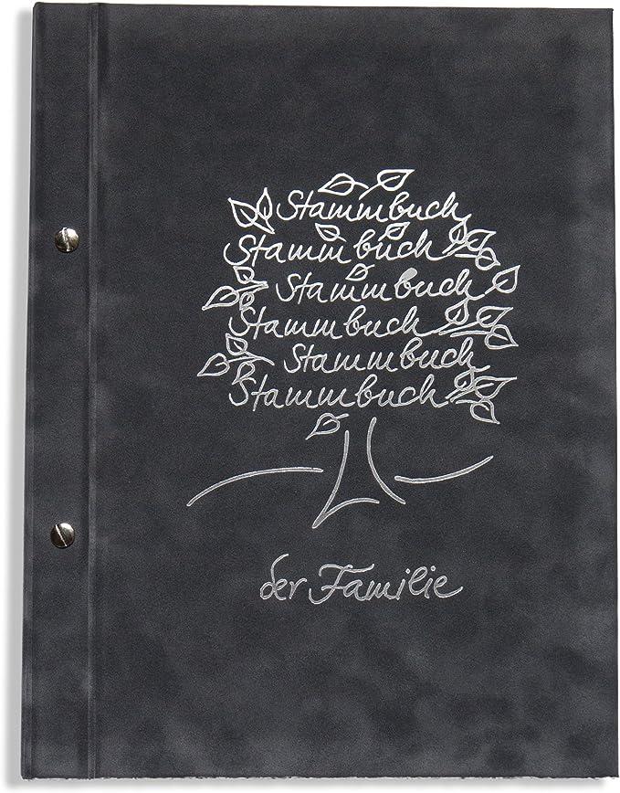 A4 SPB behördenverlag de la familia - Breris -, gris oscuro, plata árbol genealógico en relieve, con hojas, en libros, para toda la familia libro, libro de familia, libro, para toda la