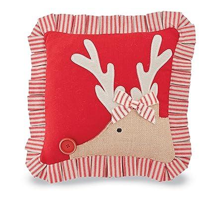 mud pie old st nick christmas decor ticking pillow side face reindeer - Mud Pie Christmas Decor