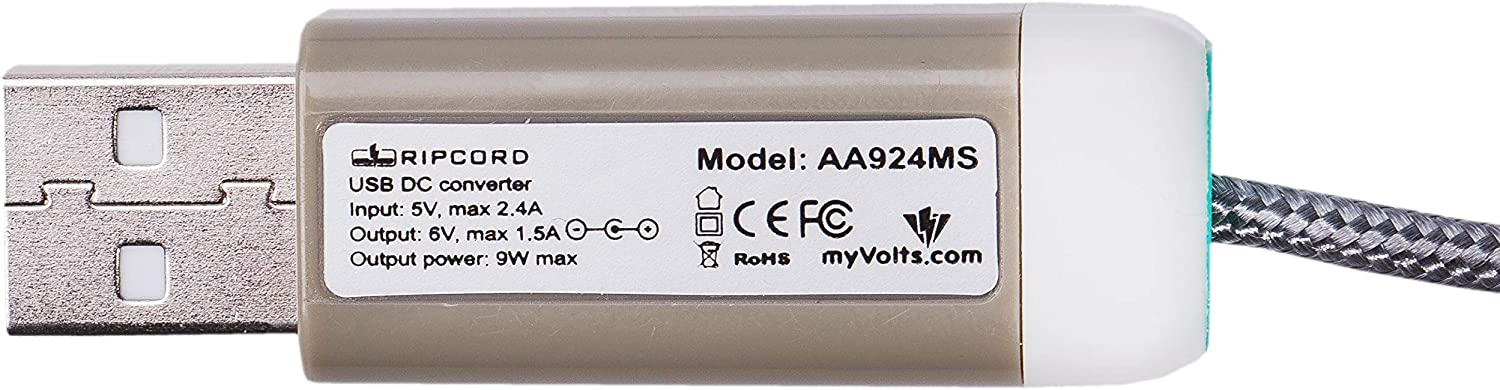 myVolts Ripcord USB to 6V DC Power Cable Compatible with The Akai SynthStation25 MIDI Controller
