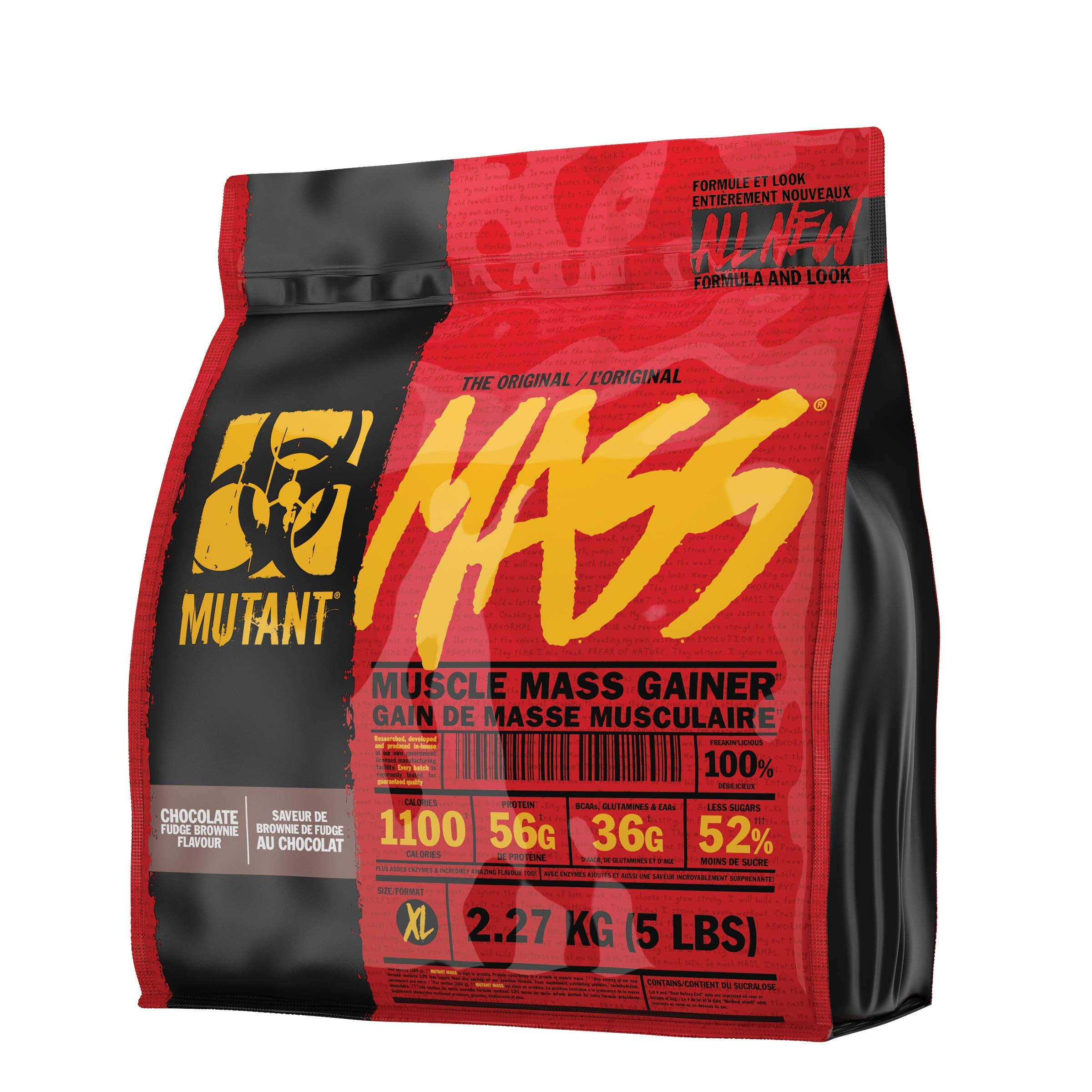 MUTANT Mass Weight Gainer Protein Powder with Whey, and Casein Protein Blend for High-Calorie Workout Shakes, Smoothies, and Drinks, 5 lb - Chocolate Fudge Brownie