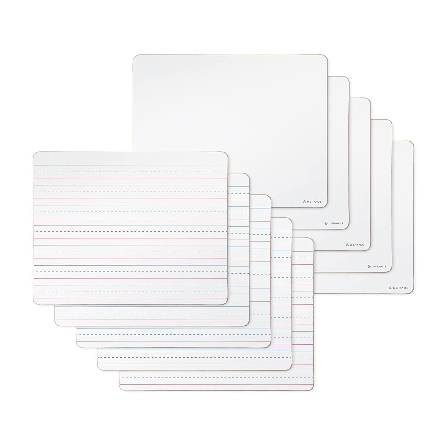 U Brands Dry Erase Lap Boards, Double Sided, Ruled and Plain, 9 X 12-Inch, 10-Pack 483U00-01