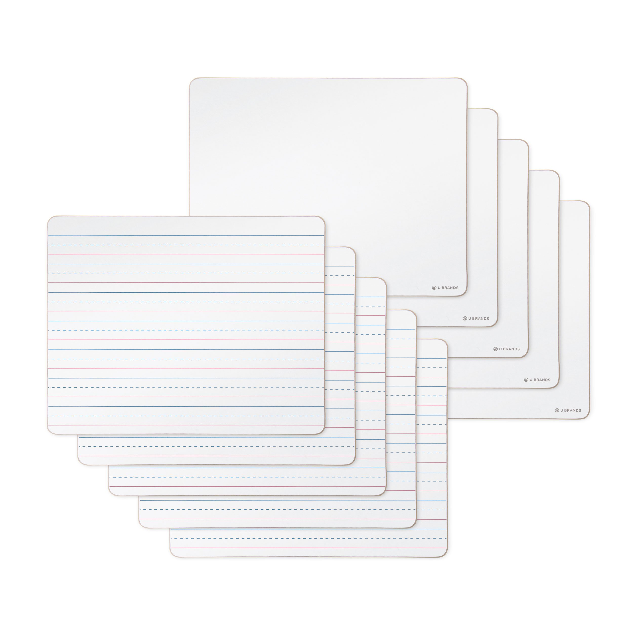 U Brands Dry Erase Lap Boards, Double Sided, Ruled and Plain, 9 x 12 Inches, 10-Pack