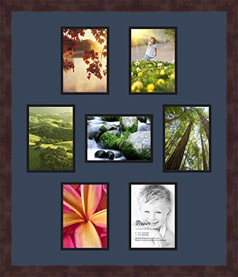 Art to Frames Double-Multimat-499-849//89-FRBW26061 Collage Frame Photo Mat Double Mat with 7-5x7 Openings and Espresso Frame