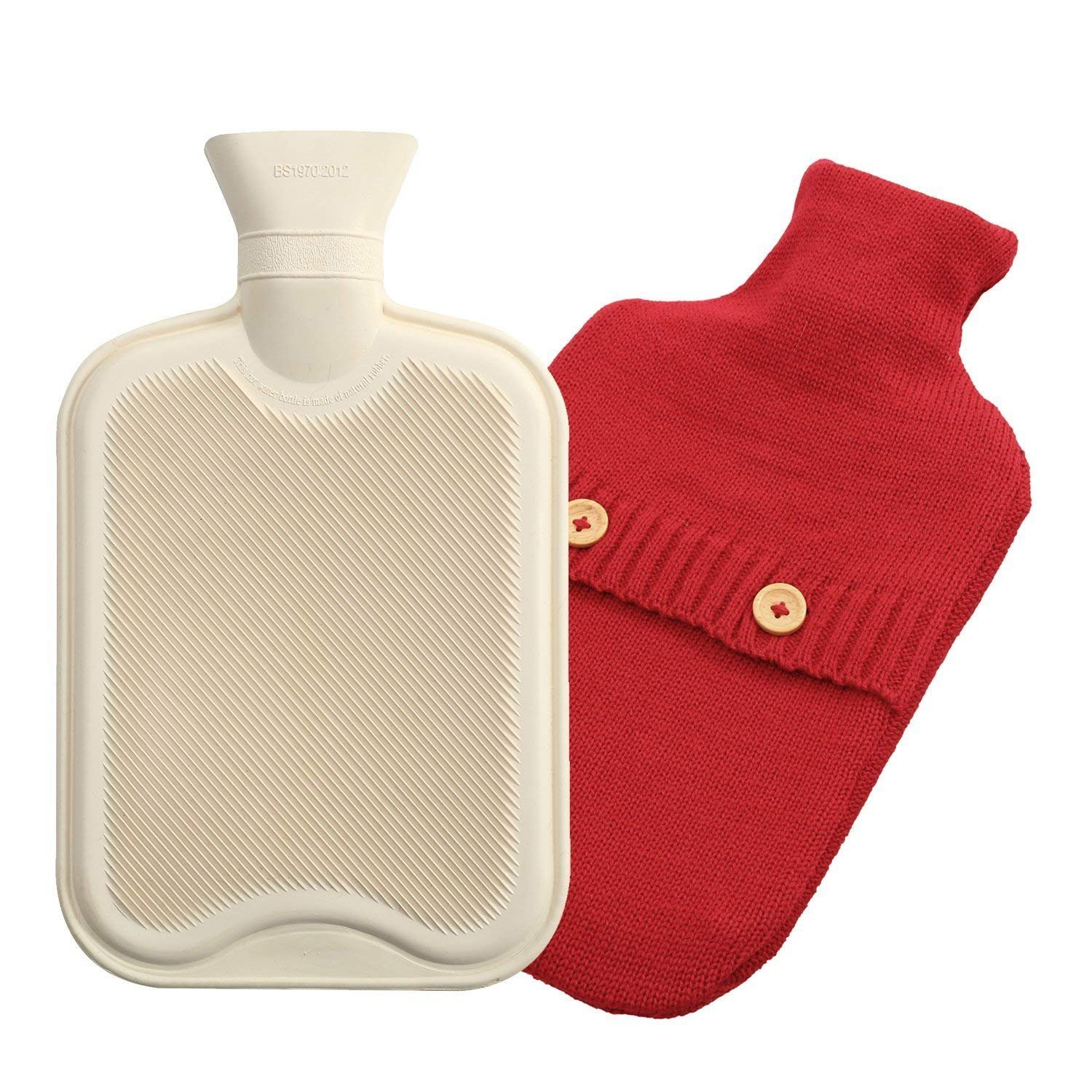 Time2Shop Premium Cozy 2 Liter Nature Rubber Hot Water Bottle w/Knitted Cover (Red)