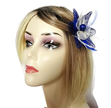 Gorgeous Small Royal Blue   Cream Fascinator Hair Clip Corsage Flower  Design for Races Wedding Formal e7389a8a4a4