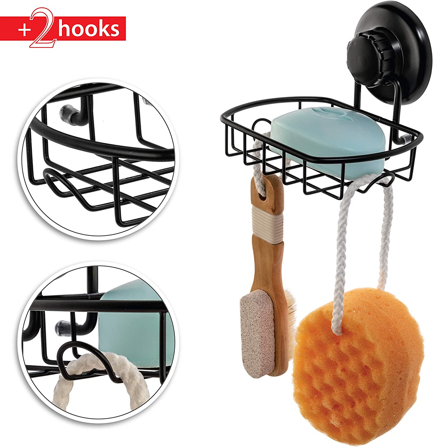 HASKO accessories Suction Soap Dish with Hooks Stainles SS304 Shower Soap Dish Powerful Vacuum Suction Cup Soap Holder Black Soap Basket Sponge Holder for Bathroom /& Kitchen