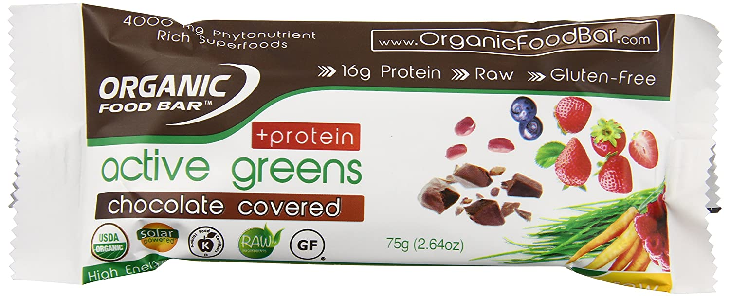 Organic Food Bar Active Greens, Chocolate, 2.64 Ounce (Pack of 12)