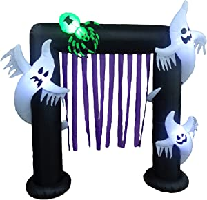 BZB Goods 8 Foot Halloween Inflatable Ghosts Spider Archway Arch LED Lights Decor Outdoor Indoor Holiday Decorations, Blow up Lighted Yard Decor, Giant Lawn Inflatables Home Family Outside Decor