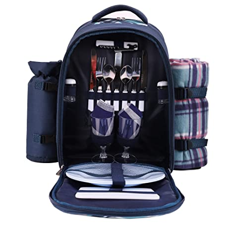 fc31dfce92d8 Amazon.com   apollo walker Picnic Backpack Bag for 2 Person with Cooler  Compartment