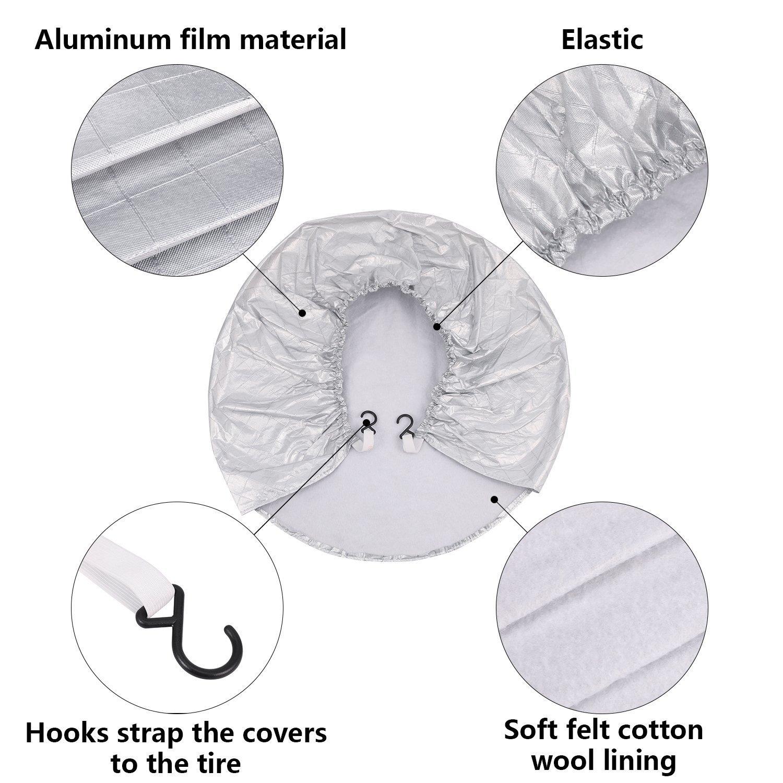 Kohree Tire Covers Tire Protectors RV Wheel Motorhome Wheel Covers Sun Protector Waterproof Aluminum Film Cotton Lining Fits 30 to 32 Tire Diameters Set of 4