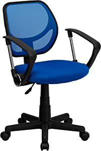 Flash Furniture Low Back Blue Mesh Swivel Task Office Chair with Curved Square Back and Arms, BIFMA Certified