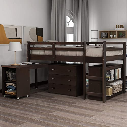 Harper Bright Designs Low Study Twin Loft Bed with Cabinet and Rolling Portable Desk, Espresso