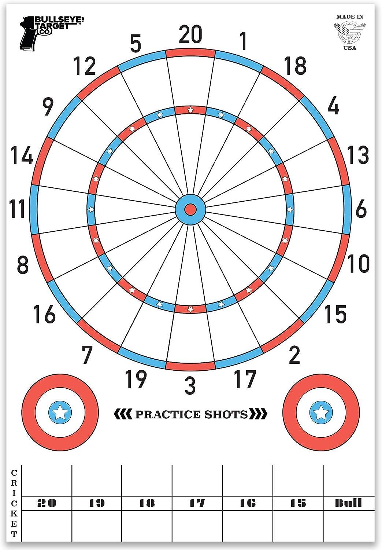 Bullseye Target Co. Shooting Targets for The Range. Poster Size Dartboard. 24x35 Inch. Fun Multi-Player Paper Target Games | Pistol - Airsoft - Rifle - BB Gun - Archery