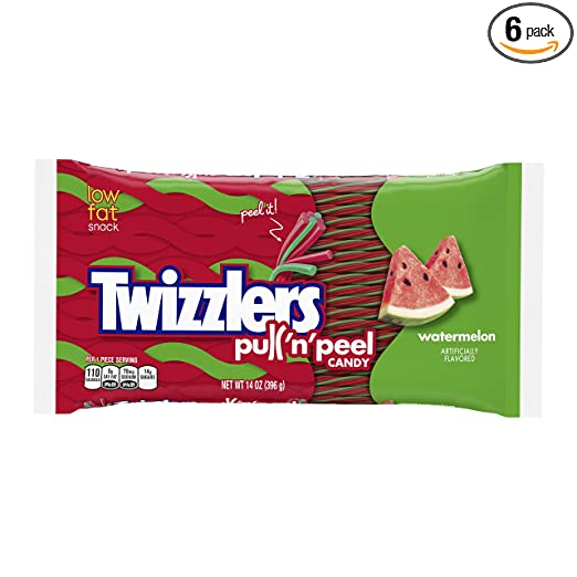 TWIZZLERS PULL 'N' PEEL Candy, Watermelon Flavored Licorice Candy , 14 Ounce Bags (Pack of 6)