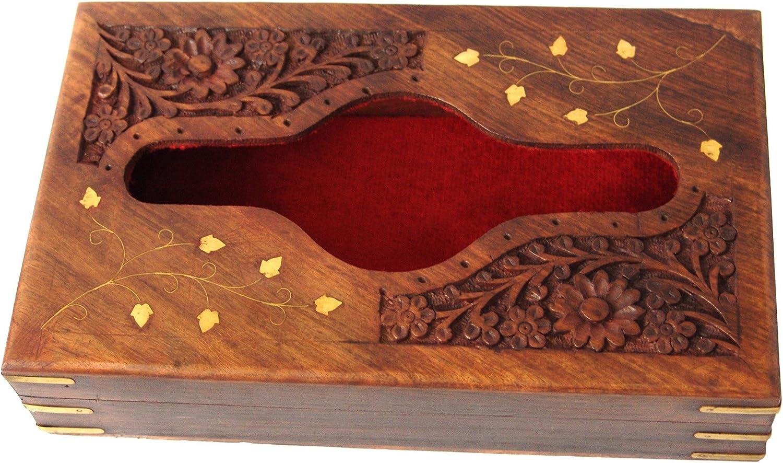 faite /à la main en bois Bo/îte /à mouchoirs support pour serviettes de table avec housse incrustation laiton et int/érieur en velours 25,4/x 15,2/cm