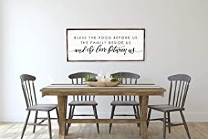Tamengi Bless The Food Before Us | Dining Room Sign | Farmhouse Wall Decor | Housewarming Gift | Rustic Wall Art | Framed Wall Art, Farmhouse Style