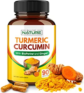 Turmeric Curcumin with BioPerine and Ginger - 95% Curcuminoids with Black Pepper Piperine for Best Absorption - Organic Curcuma Joint Support Supplement - 90 Capsules (30 Day Supply)