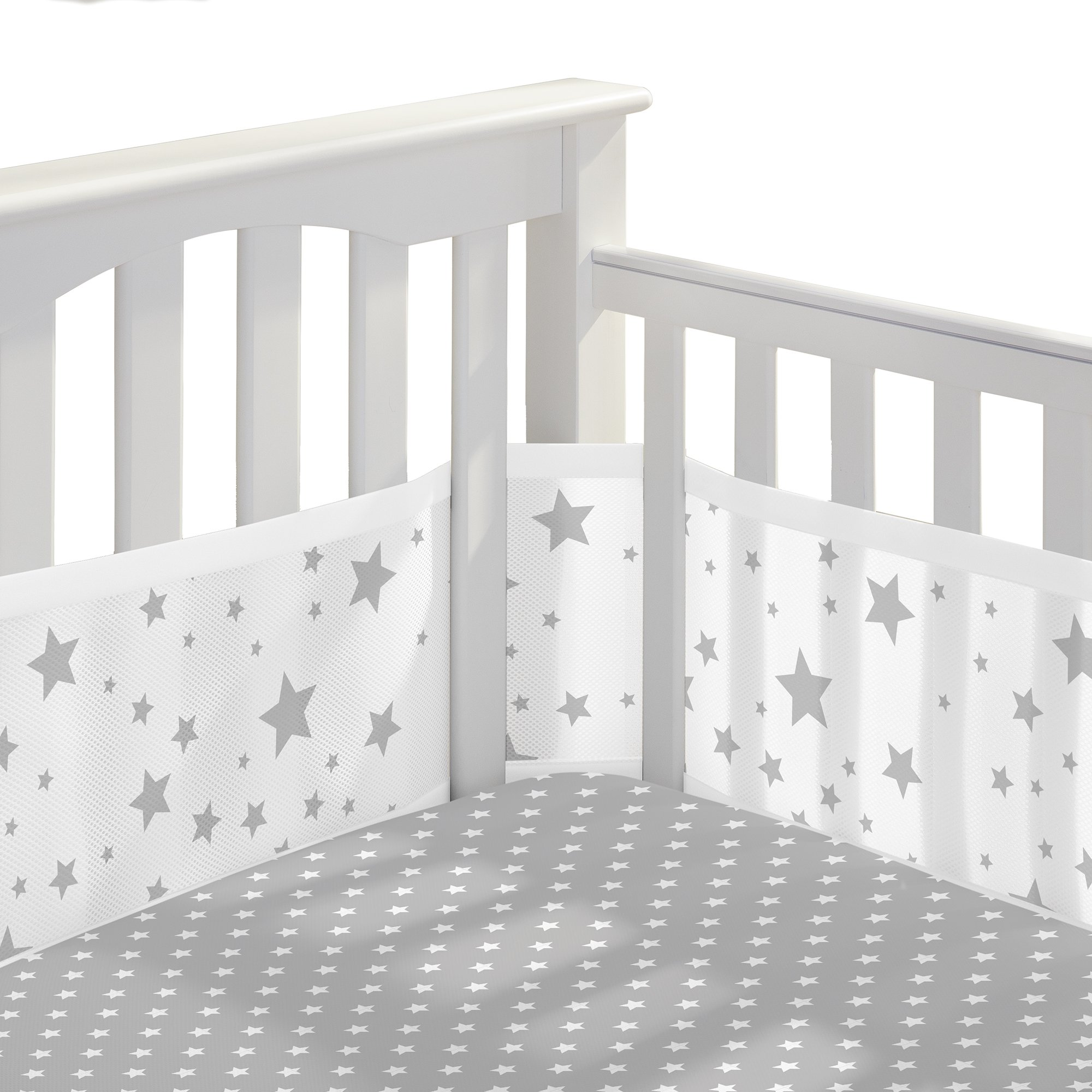BreathableBaby | Classic Crib Bedding Set | Helps Prevent Arms and Legs from Getting Stuck Between Crib Slats | Independently Tested for Safety | 3 Piece | Star Light White and Gray