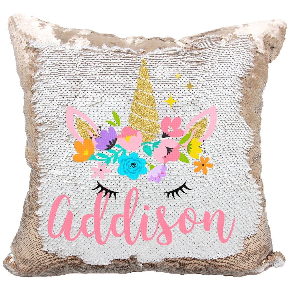 Personalized Mermaid Reversible Sequin Pillow, Custom Unicorn Sequin Pillow for Girls (White/Silver) VeraFide girls-uni_wht
