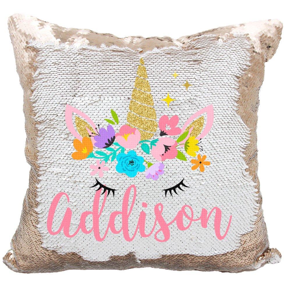 Personalized Mermaid Reversible Sequin Pillow, Custom Unicorn Sequin Pillow for Girls (White/Rose Gold) by VeraFide