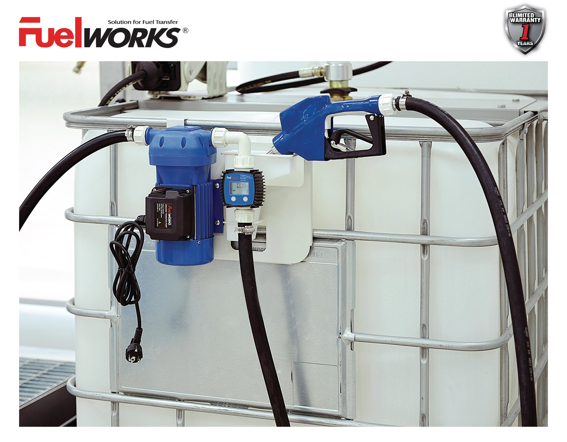 FUELWORKS 120 Volts / 8 GPM Electric DEF Transfer Pump Kit for Diesel Exhaust Fluid/ Chemical Fluid & Auto Nozzle (Pump Kit w/ Nozzle) by Fuelworks