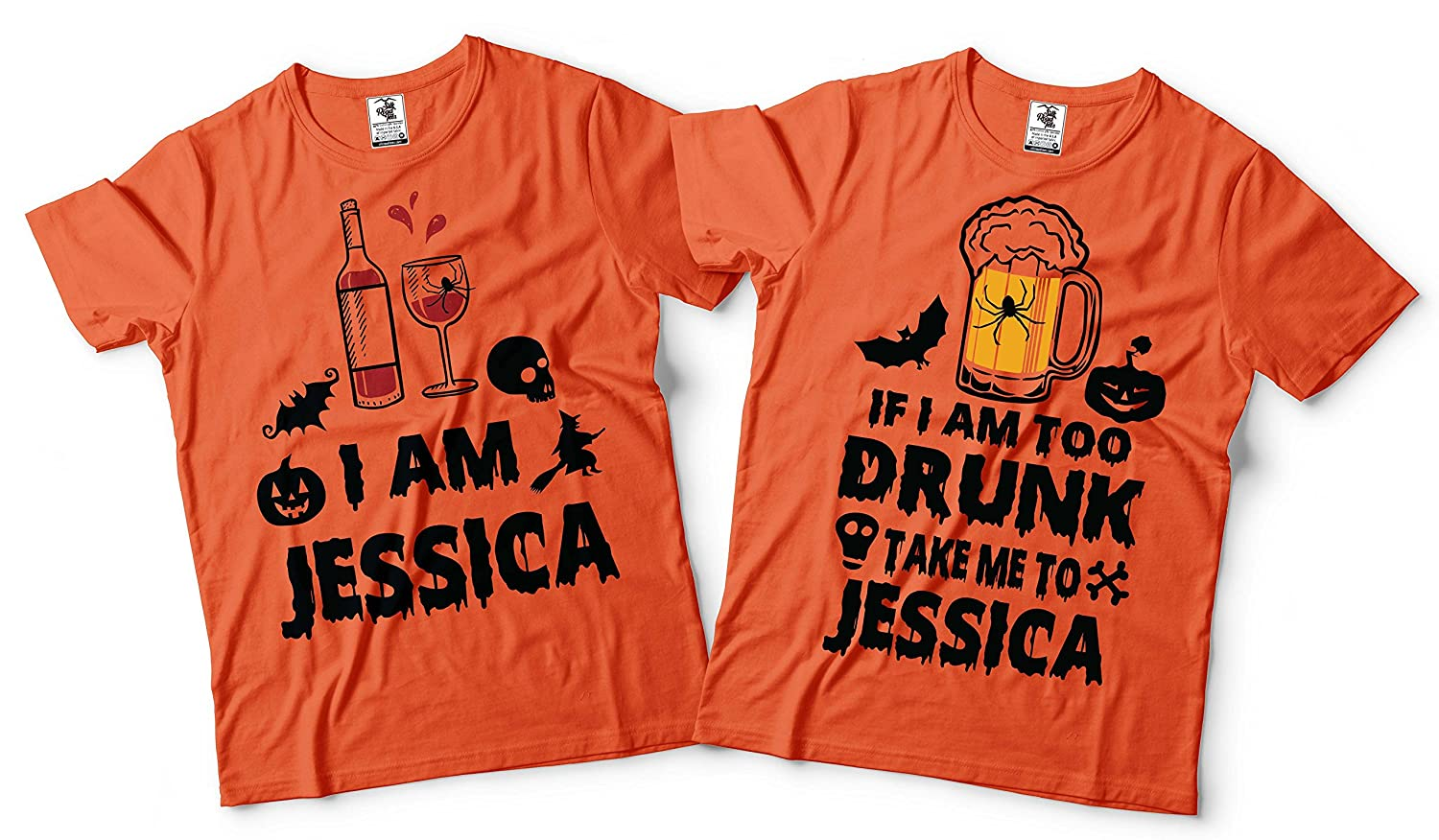 Amazon.com: Customizable Halloween Drinking Costume Shirts Couple Matching CUSTOM NAME tee shirt For Halloween Party Tees: Clothing