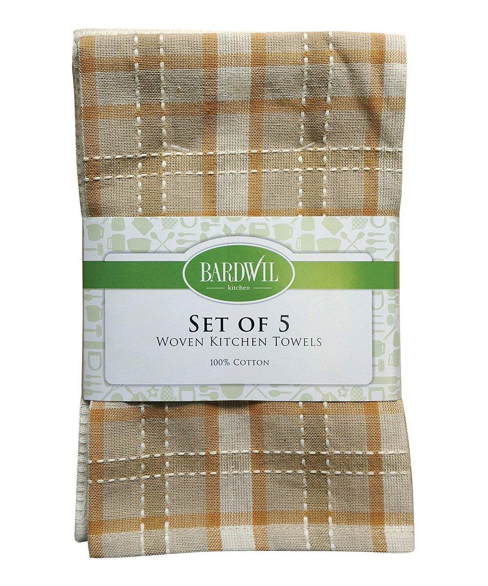Flat Woven 100% Cotton Kitchen Towel 16'' X 26'' Khaki (Set of 5)
