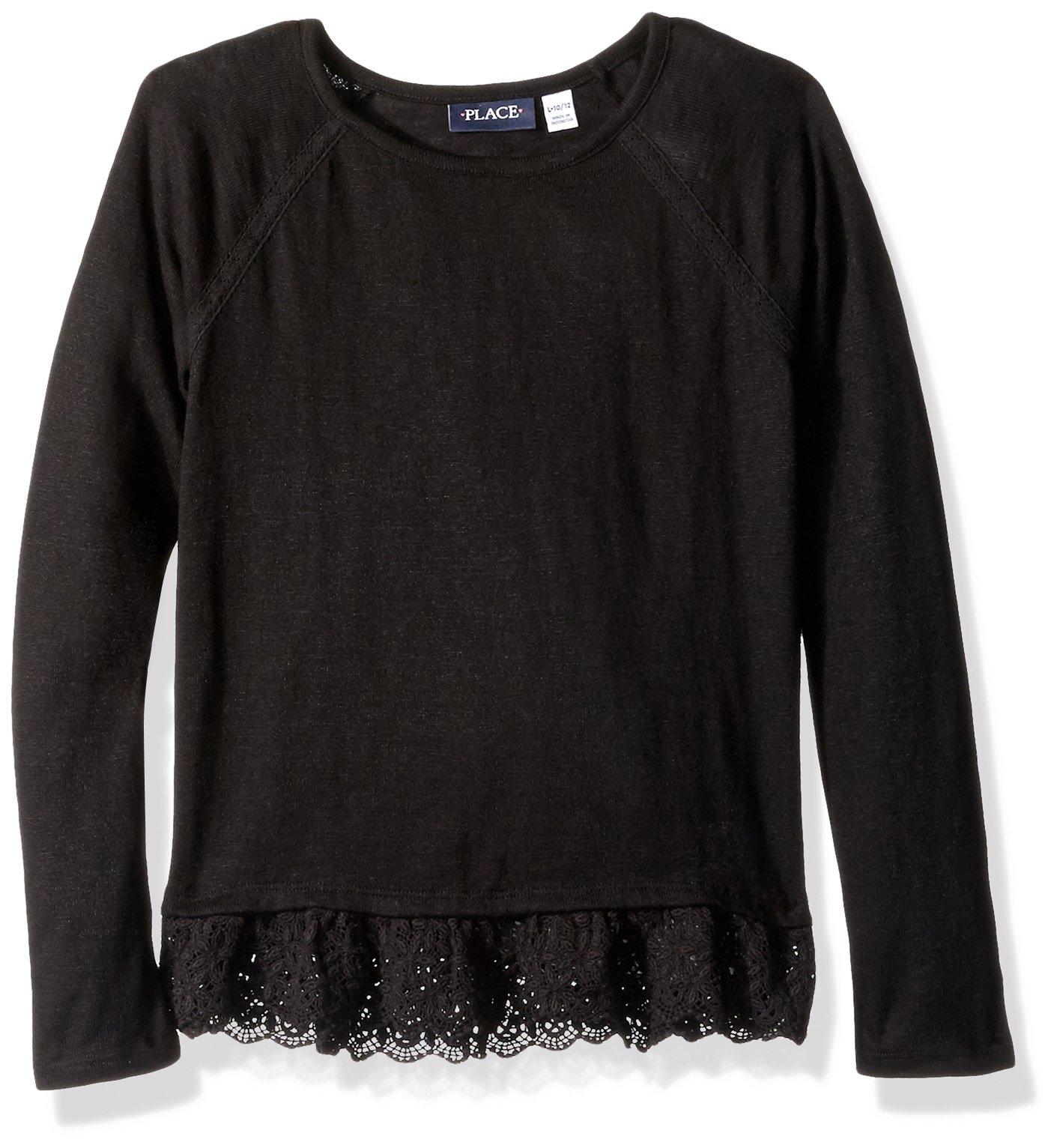 The Children's Place Big Girls' Sweater 2, Black 86301, XL (14)