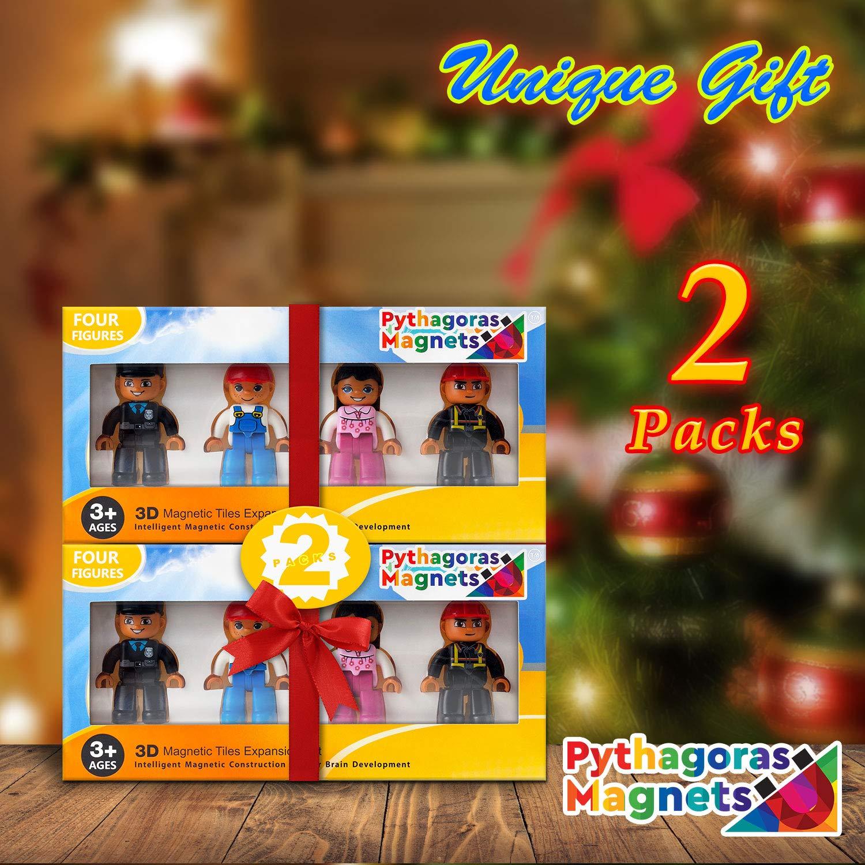 Magnetic Figures Set of 4 - Toy People Magnetic Tiles Expansion Pack for Boys and Girls - Nurse, Builder, Fireman, Police Educational STEM Toys Add on Sets for Magnetic Blocks (2 Pack)