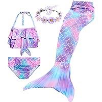 Girl's 4 Pcs Swimsuit Mermaid Tails for Swimming Princess Mermaid Costume Bikini Set for 3-12Y
