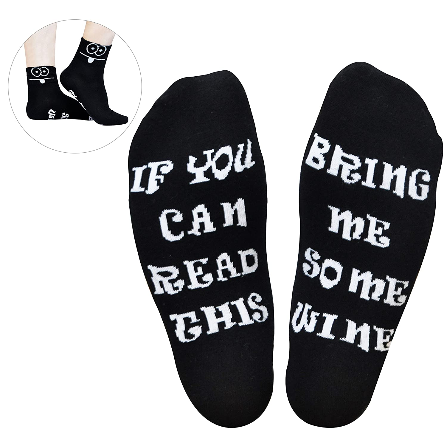 GoldWorld Novelty Cotton Wine Socks Birthday Gifts For Women Mom Men W Funny Saying If You Can Read This Bring Me A Glass Of Sock
