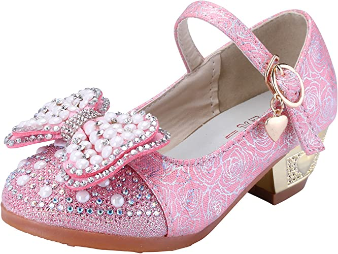 US Girl/'s Bowknot Princess Kids Performance Shoes Bling Sequins Mid Heels Dress