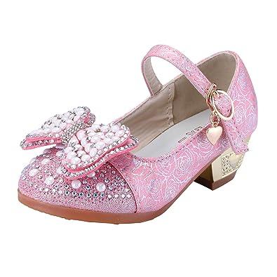 063fec1b6b25 MinePrincess Toddler Girls Lace Bowknot Faux Pearl Rhinestone Dance Shoes  Block Heels (8.5 M US
