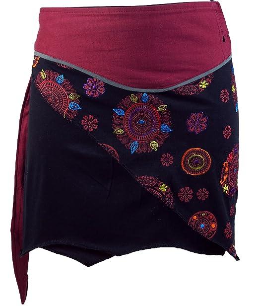 Guru-Shop, Mini Falda de Boho Chic, Falda del Abrigo, Falda de